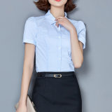 2017 Newest 100% Combed Cotton Short Sleeve Lady Formal Shirt