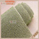 Crystal Gold Metal Base Hot Fix Rhinestone Mesh Trimming for Shoe