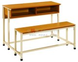Fixed School Furniture Wooden Double Student Desk and Bench