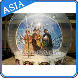 Clear Inflatable Snow Globe with Christmad Backdrop for Taking Photos