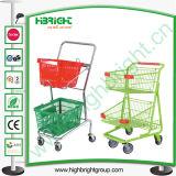Double Deck Baskets Shopping Trolley Cart