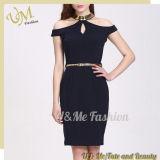 Knit fabric with Linen Evening Dresses Shirts Dress for Women