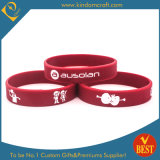 Fashion Rose Red Debossed Logo with Soft Enamel Silicone Wristband
