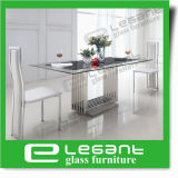Black Painted Tempered Glass Dining Table with Stainless Steel Base