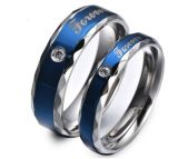 Blue Love Couple Rings Wedding Engagement Korean Jewelry, His and Hers Promise Ring Stainless Steel