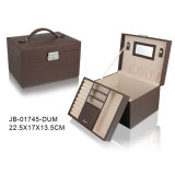 Classic Handmade Brown Leather Jewelry Storage Box Jewelry Box