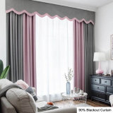 Guangzhou Custom Pure Style Durable Blackout Window Curtain Soft Polyester Fabric Hotel Supply