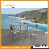 Hot Sale Outdoor Anodized Aluminum Square Bar Stool Patio Garden Modern Bistro Table and Chair Furniture