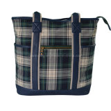 Ladies Checked Cotton Fabric Shopping Tote Bag with Leather Trim