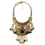 Fashion Vintage Coin Gemstone Resin Tassel Pendant Choker Necklace Jewelry