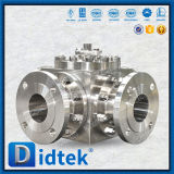 Didtek Flange Ends Stainless Steel CF8m 4 Way Ball Valve