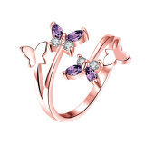Butterfly Shape Diamond Women Ring Rose Gold Plated Women Jewelry Zircon Alloy Open Rings
