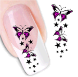 DIY Decoration Pink Black Temporary Water Transfer Nail Sticker