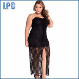 Strapless Plus Size Lace Cocktail Dress for Clubwear