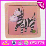 2015 New Arrival Wooden DIY Puzzle Sets, Lovely Zebra Deisgn Kids Wooden Puzzle Toy, Lowest Price Wooden Animal Puzzle Set W14c161