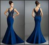 V-Neckline Blue Party Dresses Stones Prom Evening Dress Jan536