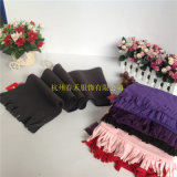 Wholesale Black Warm Winter Outdoor Sport Cycling Children's and Adult Polar Fleece Scarves with Fringes