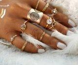 9PCS Vintage Silver Color Ring Sets Antique MIDI Finger Ring
