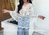 Women′s Summer Casual Beach Kimono Cover up Floral Lace Crochet Blouse Tops