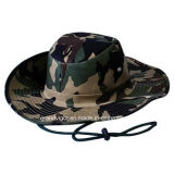 Mens Camouflage Cowboy Hat with Cord and Slide Buckle