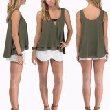 Fashion Women Chiffon Loose Double Vest T-Short Blouse