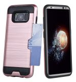 Credit Card Holder Dual Layer PC and TPU Shockproof Bumper Protective Case for Samsung Galaxy S8