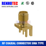 R/a Female to PCB Receptacle Crimp SMA Connector