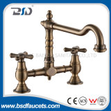 Brass Antique Bronze Wall Mounted Bathroom Kitchen Faucet Two Holes Mixer Tap