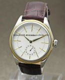 Custom Watches Gold Sports Leather Band Automatic Wrist Watch Men