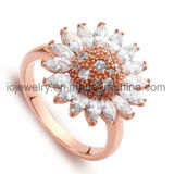 Sunflower CZ Diamond Ring Stainless Steel Jewelry