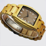 Hot Sale Analog Quartz Handmade Wood Wrist Watch Square Case