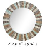 China Made 100% Handpainted Colorful Planked Wood Eternal Mirror (item#436079)