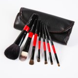 7PCS Red and Black Custom Makeup Brush with PU Case