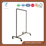 Boutique Raw Steel Rolling Clothing Rack Single Rail