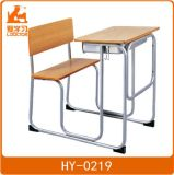 Wood School Attached Desk Chair with Metal Frame