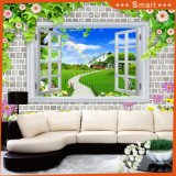 Window Views Mountain Fresh Air Wall 3D Oil Painting with Waterfall