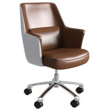 High Back Leather Executive Chair with Armrest Swivel Foot