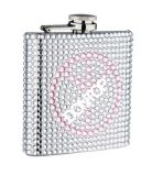 6oz Cute Genuine Rhinestone Hip Flask with Beads (H0604R)
