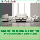 White Couch Leather Living Room Sofa Set with Stainless Steel