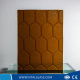 3-6mm Amber Bee Patterned Glass with CE&ISO9001
