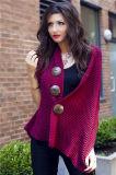 Lady Coconut Button Fashion Acrylic Knitted Scarf Shawl (YKY4424-3)