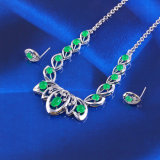Valentine′s Gift Silver Color Malay Jade Jewelry Set (61393)