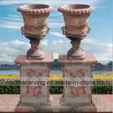 Sunset Red Marble Flowerpot/Planter with Relief, Square Pillars