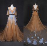V Neck Applique Tulle Embroidery Lace Evening Dress Wt7339