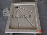 Yellow Marble Natural Stone Bathroom Shower Pan / Shower