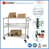3 Tiers Industrial Chrome Plated Metal Wire Unility Cart
