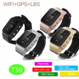 GPS+WiFi+Lbs Adults Watch Tracker with OLED Screen (T59)