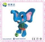 Football Mascot Plush Blue Standing Elephant Toy