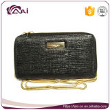 2017 Women Wallet, Black Long Chain PU Lady Purse with Wholesale Price