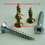 Double Flat Head Harden Yellow Zinc Plated Chipboard Screw